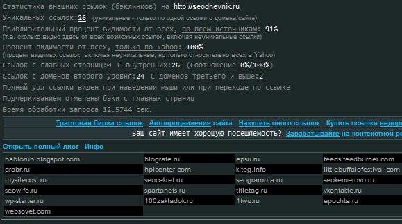 бэклинки сайта - скриншот