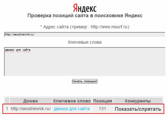 позиция в Яндексе