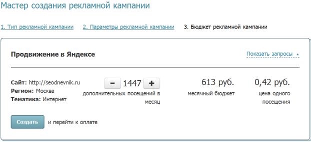 цена 1 посещения 0.42 рубля