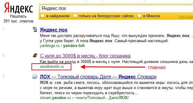 в Яндексе главная страница блога