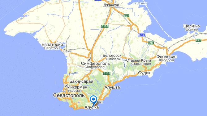 Алупка на карте Крыма